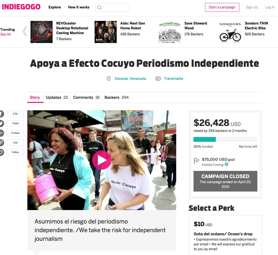 O site de notícias digitais da Venezuela Efecto Cocuyo usou a plataforma IndieGoGo para angariar milhares de dólares. (Printscreen de campanha)