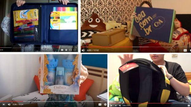 Cenas dos vídeos em que alguns 'youtubers' mirins abrem presentes enviados por empresas que constam na denúncia