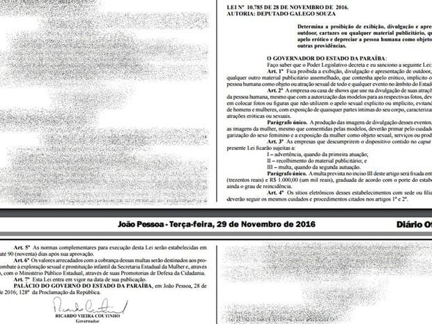 Lei que proíbe publicidade com apelo sexual foi publicada no Diário Oficial da Paraíba desta terça-feira (29) (Foto: Reprodução/Diário Oficial da Paraíba)